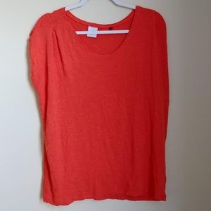 CAbi Large Cap Sleeve Orange Tiger Lily Solid Tee